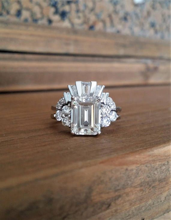 WEDDING BAND ONLY Antique Diamond tapered Baguette Art Deco Old Hollywood Classi…