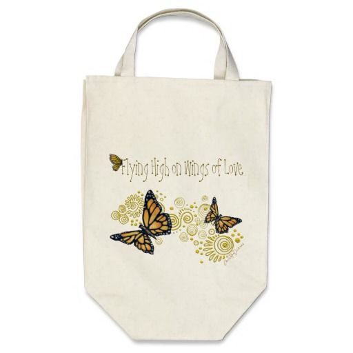 Organic Butterfly Grocery Tote Bag 'Flying High on Wings of Love' #bags #butterfly