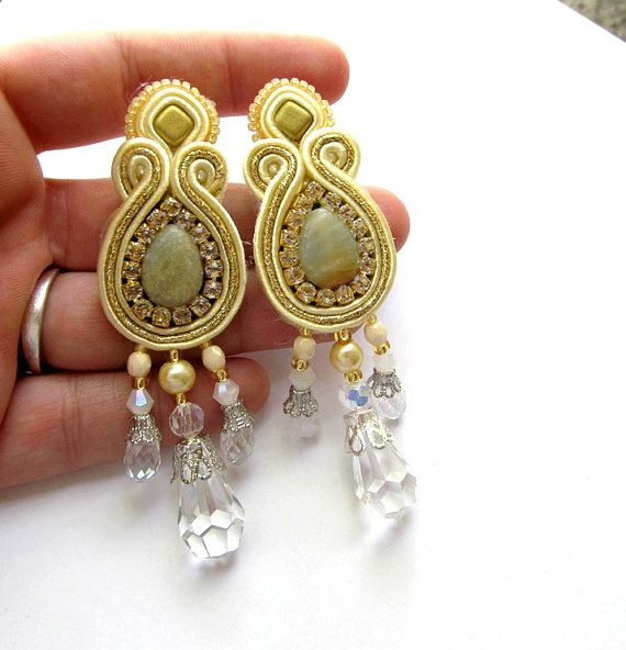 Bridal Soutache Clips Earrings with Beads Soutache Braid Crystals Glamour and Shiny Style Gift Toho Handmade Jewelry Bridal