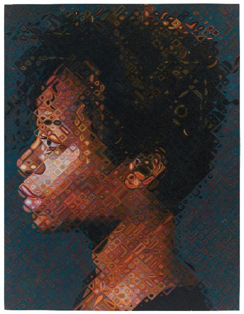 I was drawn to this piece because of the chuck close style. I am very excited to try this style during independent art. I like the line and shape in the chuck close portraits. Each individual square has its own value, shape, and design, yet when you look at the work as a whole, it creates one piece. This is a profile portrait of a girl. The technique of this piece is complicated while the woman in the painting looks raw and simple.