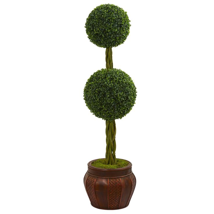 Nearly 4.5' Boxwood Double Topiary Artificial Tree in Decorative Planter