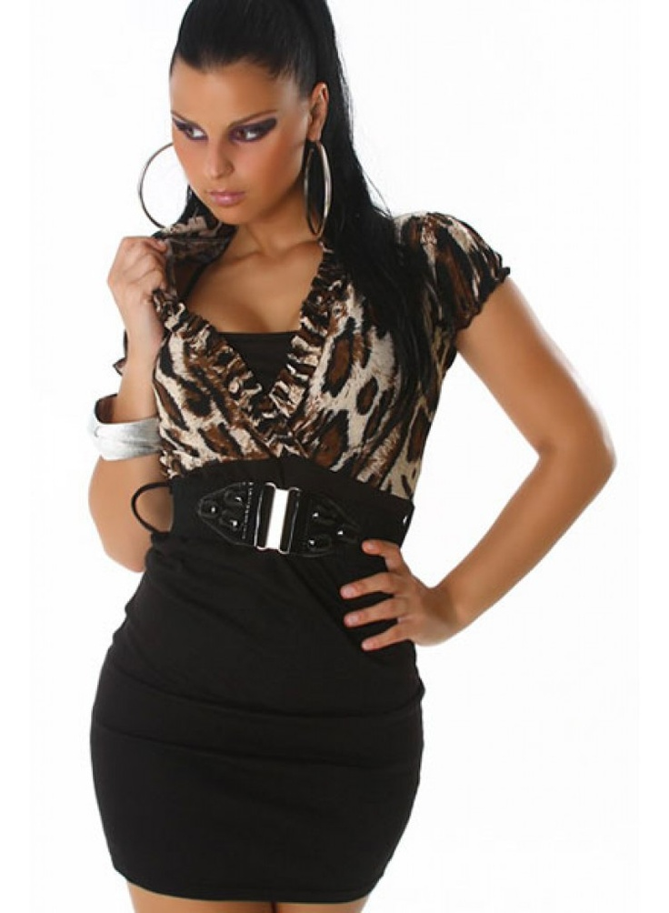 Sexy Pencil Dress With Belt Leopard and Black