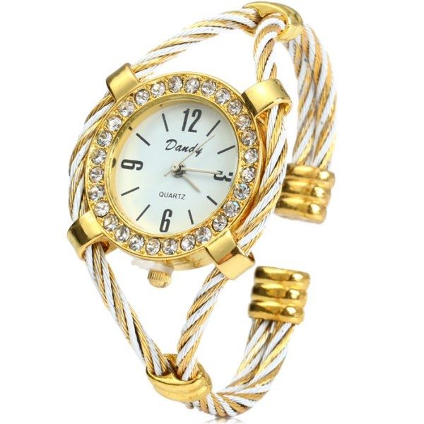 4.35$  Watch here - http://diye2.justgood.pw/go.php?t=142833402 - Dandy 221 Ladies Quartz Watch Diamond Case Bracelet with Steel Wire Strap 4.35$