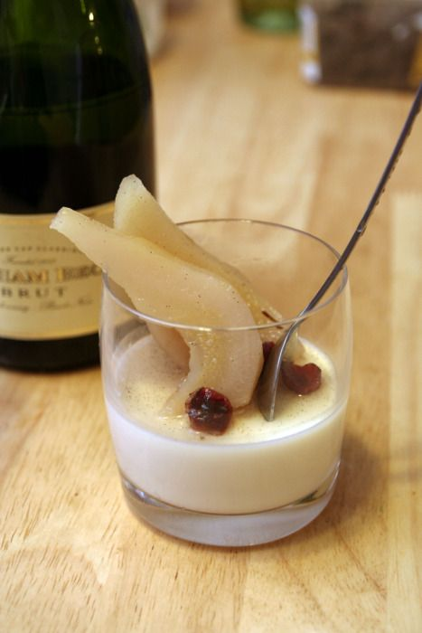 Champagne Panna Cotta with Poached Pears: Champagne Panna, Champagne Desserts, Years Happy, Poached Pears, Holidays Decor, Champagne Toast, Healthy Recipes, Panna Cotta, New Years