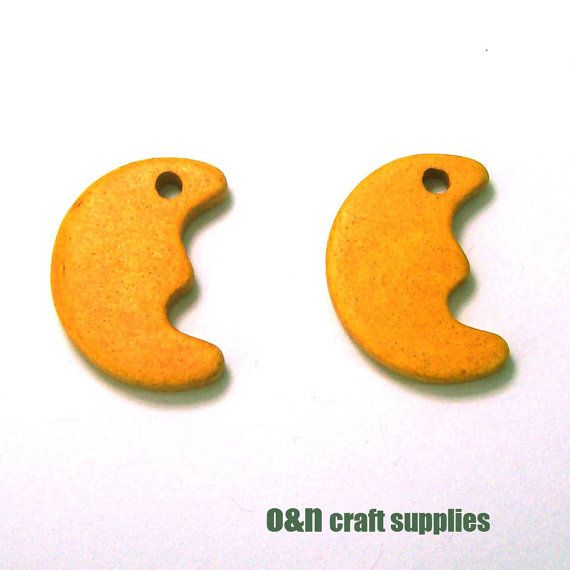 Moon greek ceramic beads / charms  2 pieces by OandN on Etsy #beads #jewelrysupplies