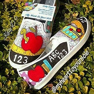 Price includes shoes. Teacher shoes by MyHeartToYourSole on Etsy