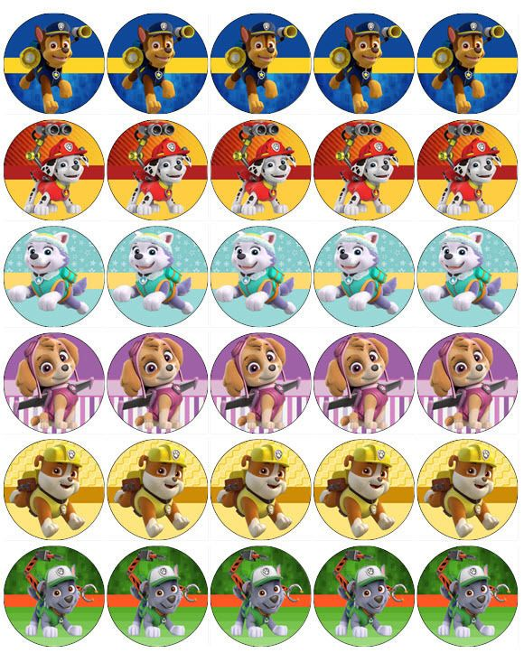 Paw Patrol V4 Papel De Oblea Comestible Toppers Cupcake Pastel Mollete