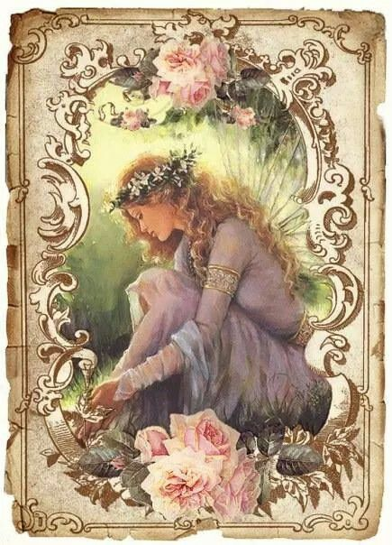 Lady in Lavender dress in gold frame with pale pink roses.