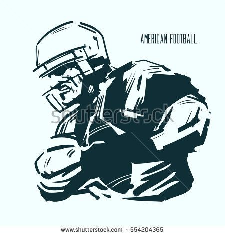 American football player in action, power, sketch style, vector illustration, team sport