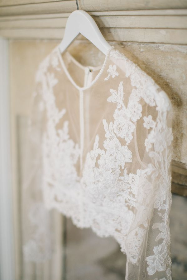 Beautiful white lace Bridal cover up for those Autumn and Winter weddings