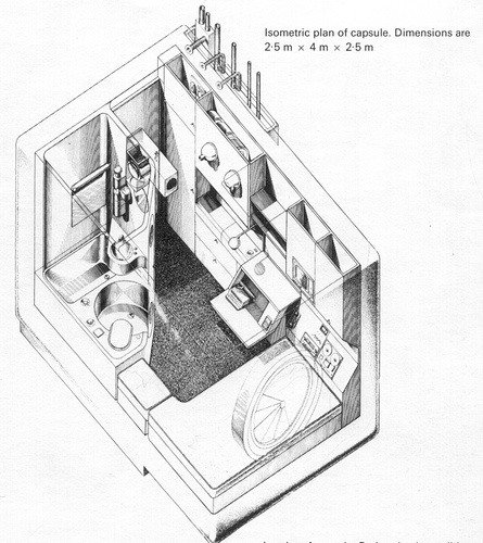 The ultimate small space? Isometric plan of a Nakagin Capsule Tower interior