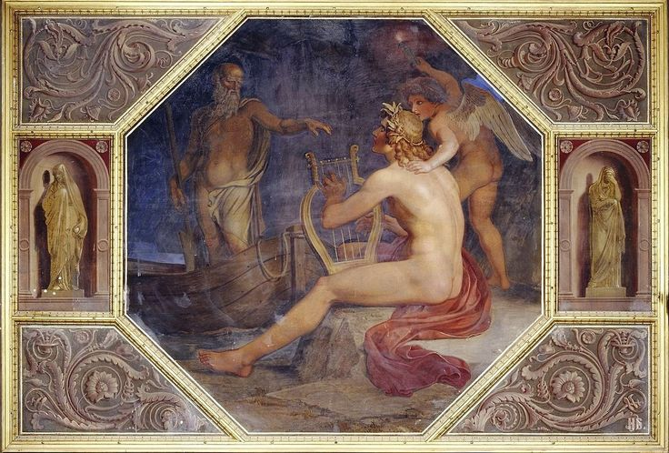 Orpheus in the underworld.  1850. Bonaventura Genelli.  German.  1798-1868.  mural Neues Museum.  Berlin.
