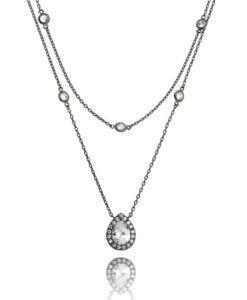 colar rodio negro duplo com zirconias cristais e colar tiffany semi joias modernas