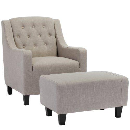 Empierre Beige Linen Club Chair & Footstool Set Great Dea...