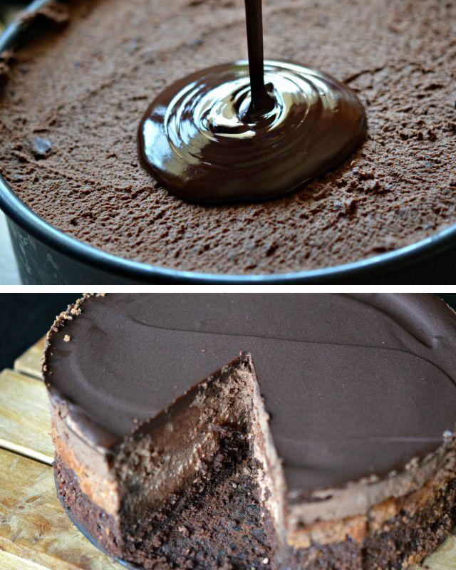 postup Tři vrstvy a poleva - čokoládový cheesecake