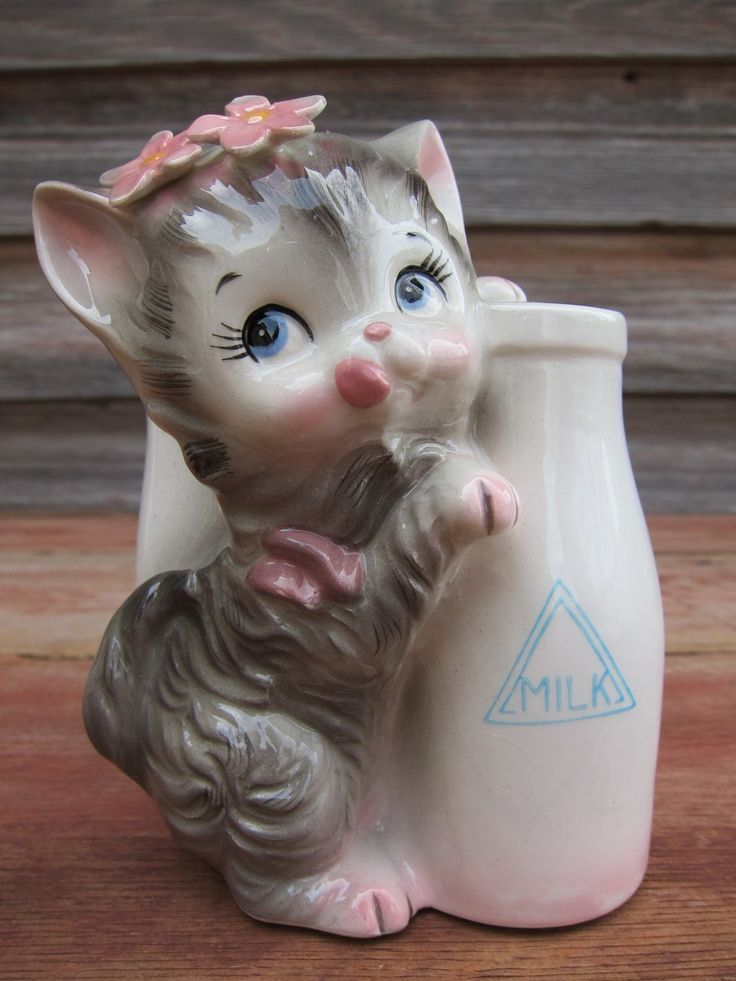 Image detail for -Vintage Gray Kitten Ceramic Planter Cat & Milk by PickersParadise
