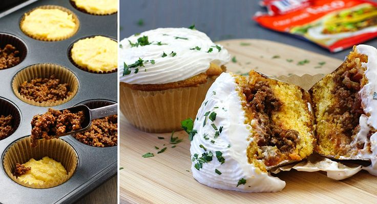"""Is it a taco? Is it a cupcake? It's both! A sweet cornbread """"cake"""" gets stuffed with favorite taco fixings"""