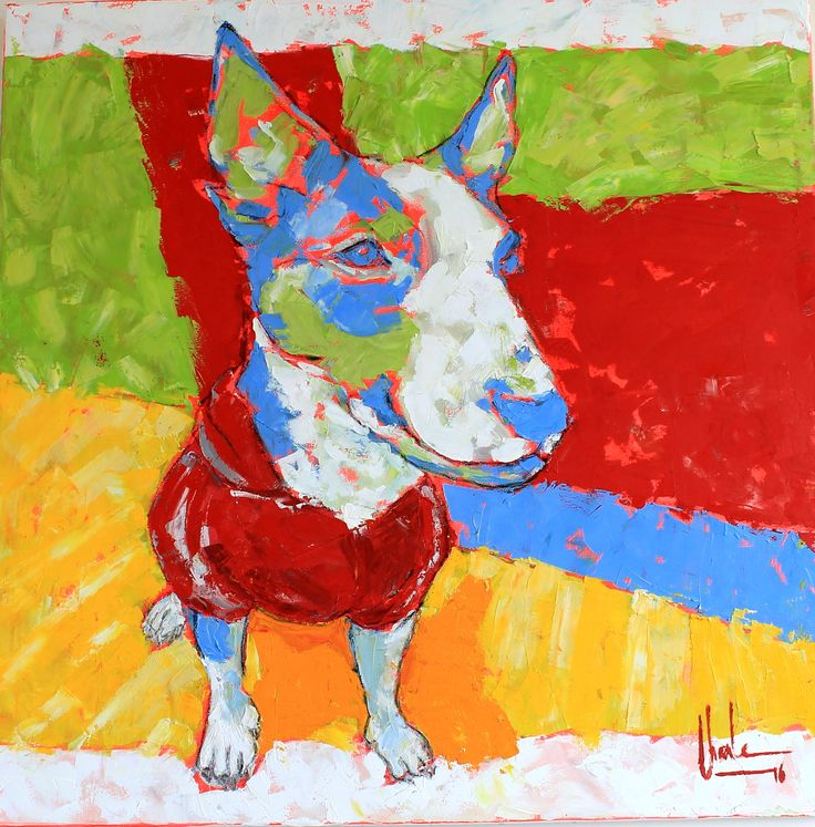 Audi the mini Bull Terrier I Mixed Medi on canvas