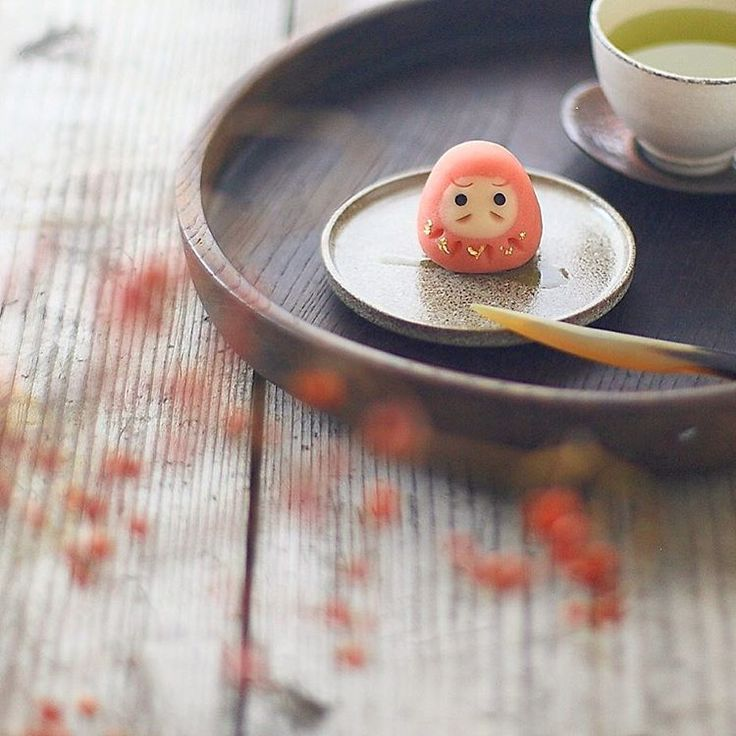 . Today's sweet, I made japanese confection NERIKIRI which is DARUMA shaped