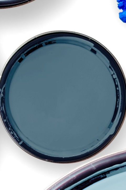 A deep shade with notes of gray and green will feel bold in a bright room and also make a darker room feel dramatic, not dim. Benjamin Moore Mozart Blue 1665
