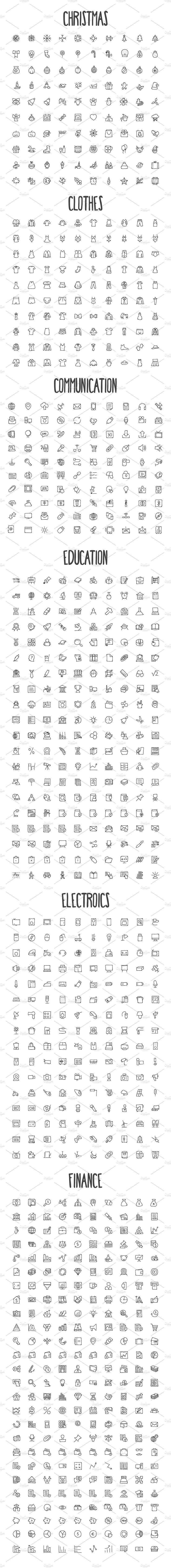 2440 Hand Drawn Doodle Icons Bundle by creativestall on @creativemarket