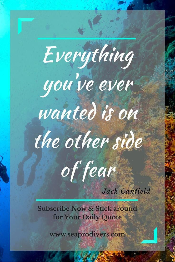 Inspirational Quote Everything You Ve Ever Wanted Is On The Other Side Of Fear Take This Scuba Diving Course That Diving Quotes Scuba Diving Quotes Diving
