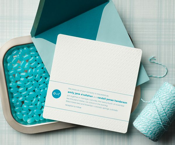 Modern aqua blue and white wedding invitation by Curious & Company Invitations