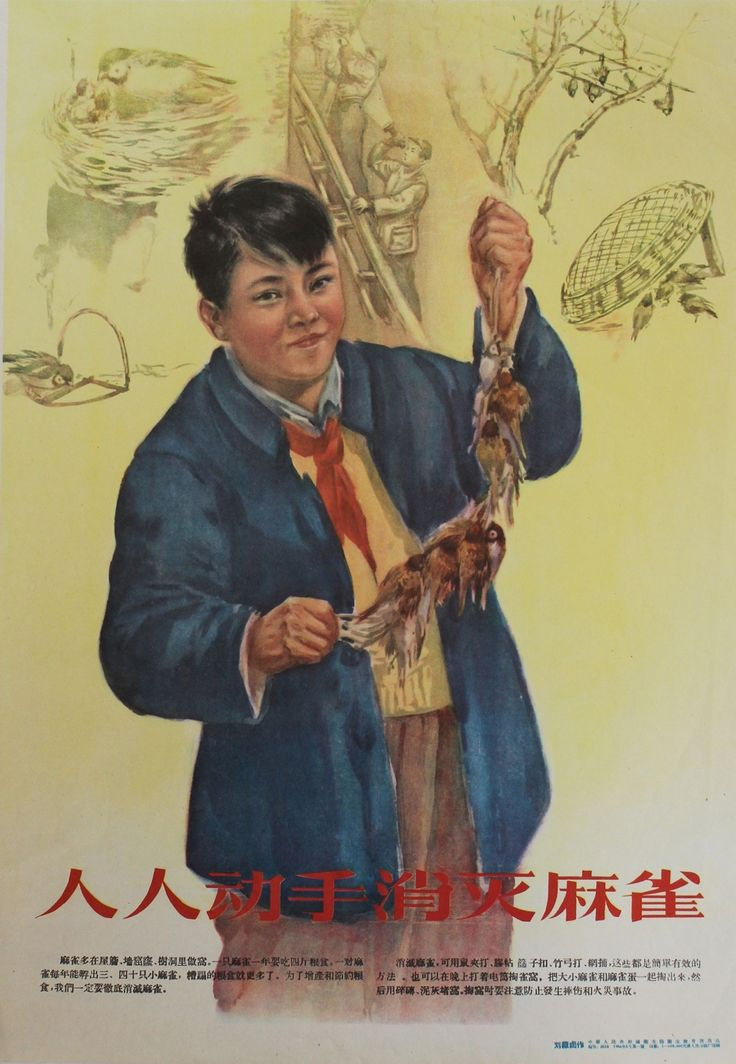 """Liu Jiyou, """"Everyone Get to Work Eliminating Sparrows"""" (People's Republic of China, 1956) (courtesy University of Chicago Press)"""