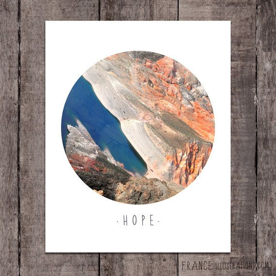HOPE Wall Art /// Abstract Landscape Home by FRANCEillustration, $6.00