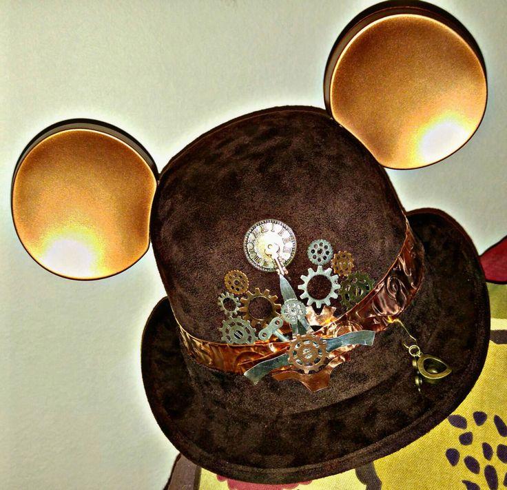 Steampunk disney. Starwars disney. Steampunk. Derby Mickey Mouse Hat. Original Disneyland Hat. Mickey Mouse Ears. Custom Disney Hat. by dizzylidz on Etsy https://www.etsy.com/listing/248438815/steampunk-disney-starwars-disney