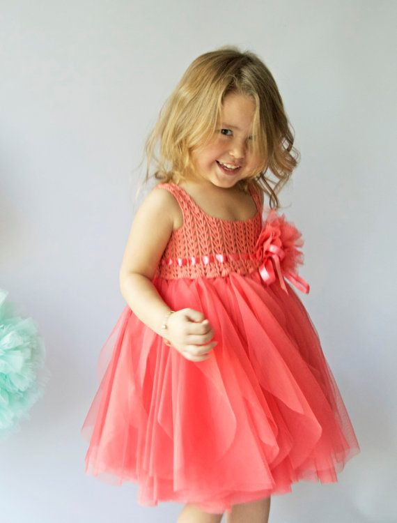 Coral Tulle Dress with Empire Waist and Stretch by AylinkaShop