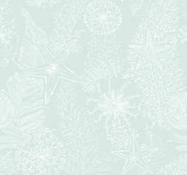 AC6018 Coral Reef from By the Sea by Ashford House is a blue wallpaper with a slightly raised texture of starfish, coral and water plants.