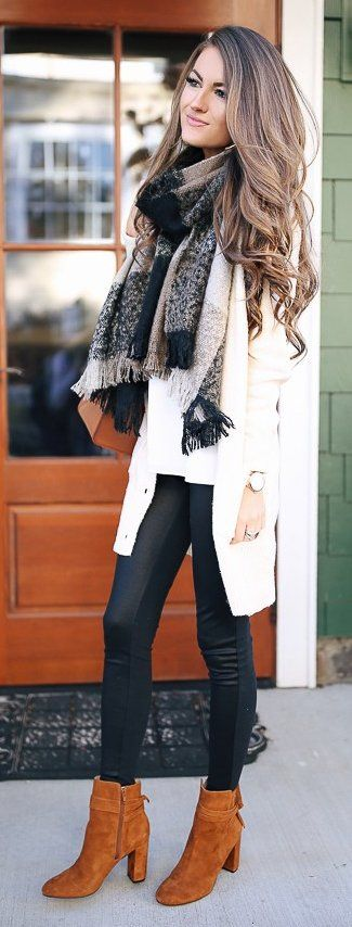 #winter #fashion / White Cardigan + Leather Leggings + Camel Booties
