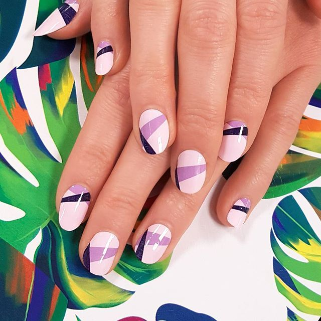 """Geometric """"Ultaviolet"""" brings slivers of blue and purple to your fingertips! Shop this shade and more nail art perfect for the season at incoco.com 💙💜 #incoco #nailart #geometricnailart #purplenails #purplenailpolish #instanail #nailartpassion #nailsofday #violetnails #purplehaze"""