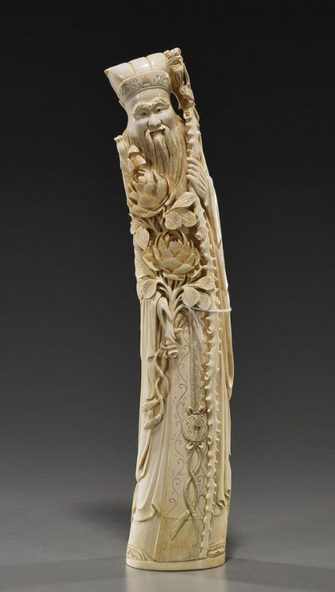 CHINESE IVORY CARVING | 317: Chinese Carved Ivory Bearded Immortal : Lot 317