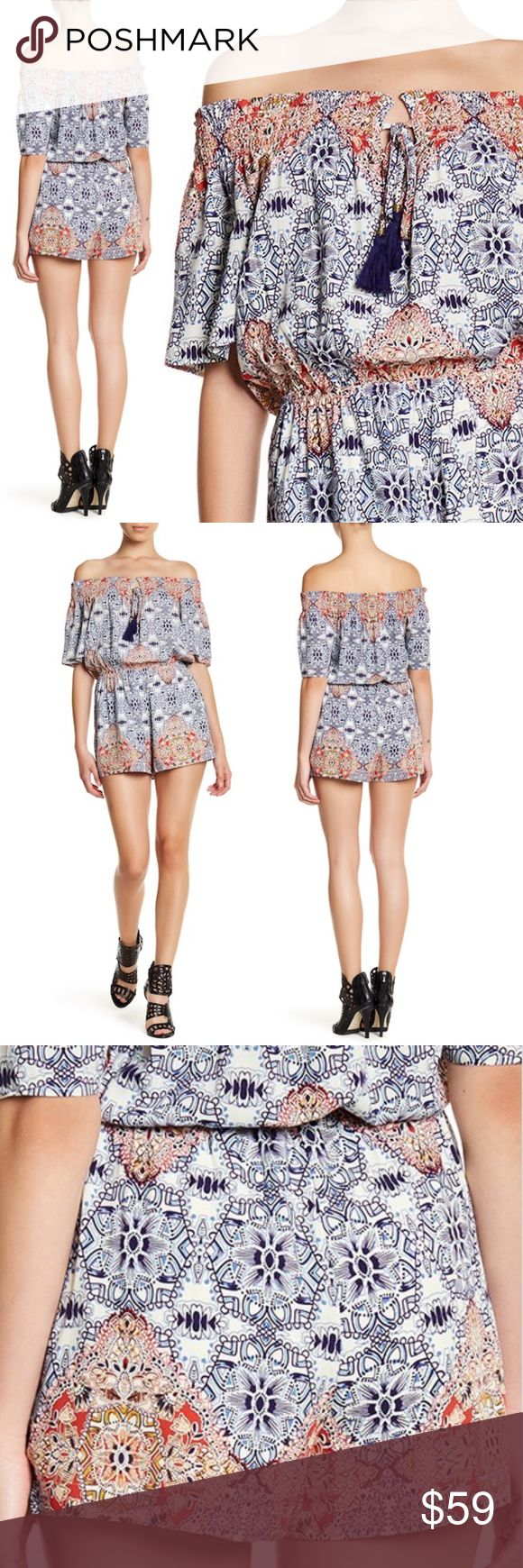 """Daniel Rainn Off Shoulder Romper Coral Aztec Geo MSRP $78 Sold out!  Size Petite XL Color Coral multi  DR2 by Daniel Rainn off-the-shoulder sexy romper Spit neck w/tie closure Short sleeves Smocked trim Elasticized waist Allover print Lined  NWT; no flaws 100% rayon Lining 100% poly Machine wash  Fits true to size (petite) Measures flat approx"""" Length 29 (top of chest to hem) Chest 22 Waist 18 to 24 stretched Hip 24.5  Offers warmly accepted - If we can't reach your offer, we'll send you the…"""