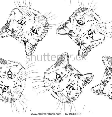 Seamless vector pattern with sketch of cat's head on white background