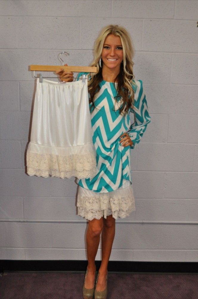 Such a smart idea for the fun flirty dresses that are just a touch too short :)  Modern Vintage Boutique - Cream Lace Long Skirt Extender, $36.00 (http://www.modernvintageboutique.com/cream-lace-long-skirt-extender.html)