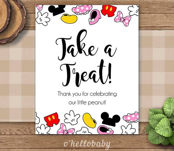 Please Take A Treat Sign Disney Theme Table Signs Baby Shower Signs   Disney  Baby Shower   Gender Neutral Baby Shower   005