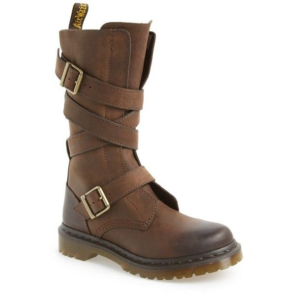 Women's Dr. Martens 'Lauren' Lug Military Boot ($97) ❤ liked on Polyvore featuring shoes, boots, dr martens footwear, combat boots, military boots, genuine leather boots and genuine leather shoes