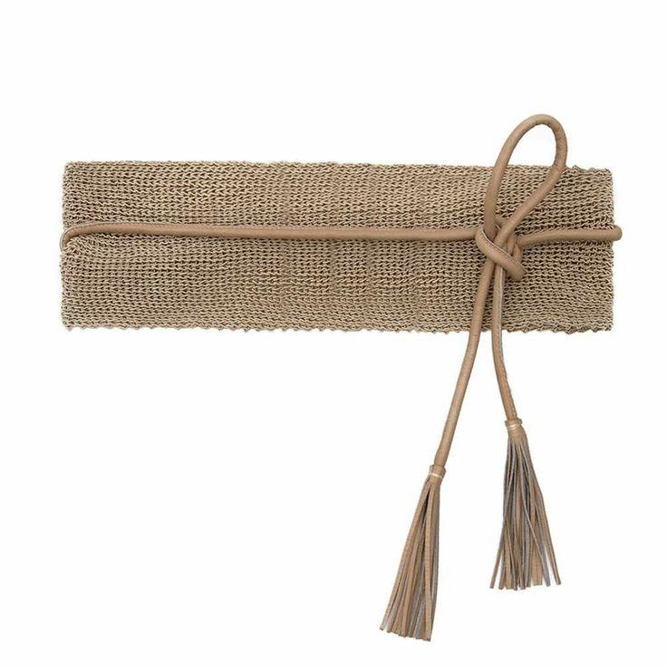 Cintura-obi in cotone con lacci e nappine in pelle
