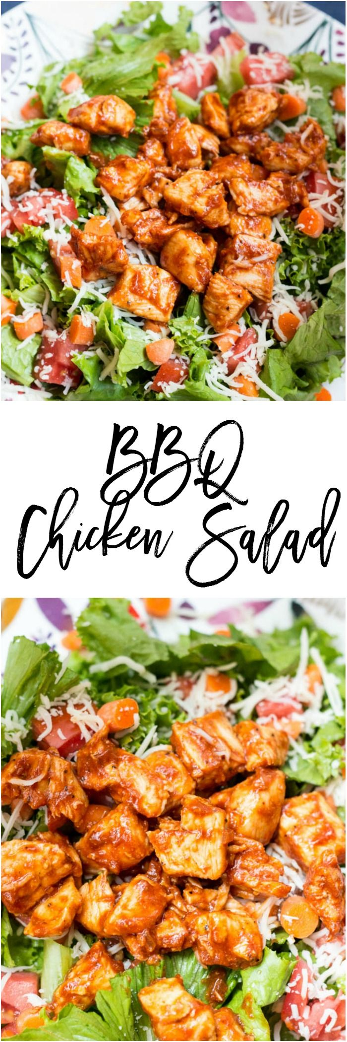 BBQ Chicken Salad - This recipe can be on your table in 15 minutes and won't taste like it.  It's only 7 SmartPoints on Weight Watchers and is filling enough to last you all afternoon.
