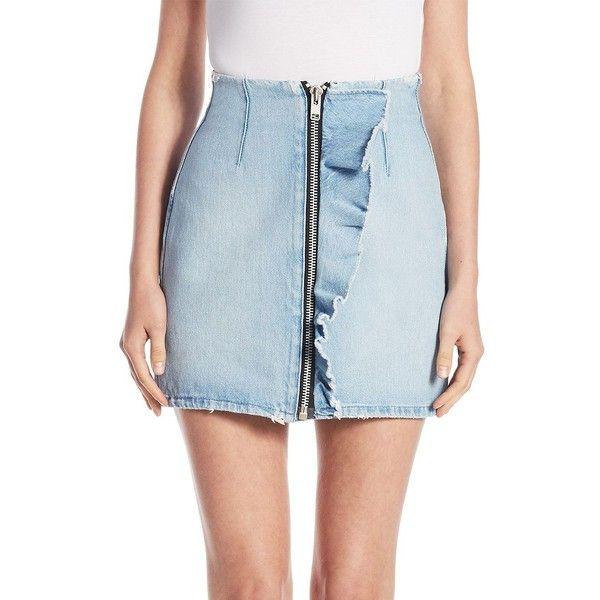 MSGM Denim Mini Skirt ($280) ❤ liked on Polyvore featuring skirts, mini skirts, blue denim skirt, ruffle mini skirt, short mini skirts, ripped denim skirt and denim mini skirt