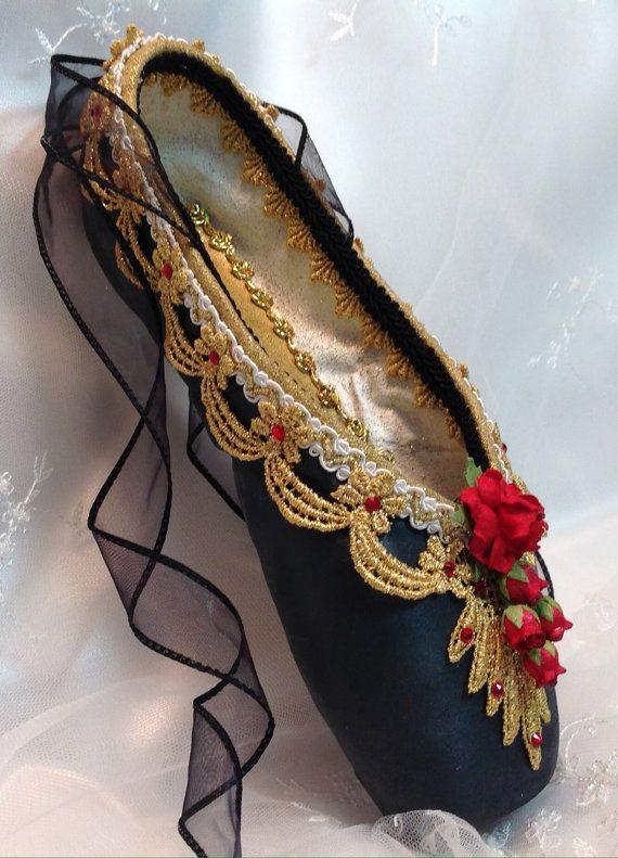 Nutcracker Spanish themed decorated pointe shoe. READY TO SHIP. Don Quixote…