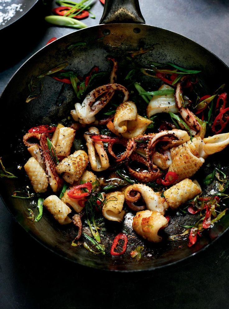 Stir-fried Salt and Pepper Squid with Red Chilli and Spring Onion - The Happy Foodie
