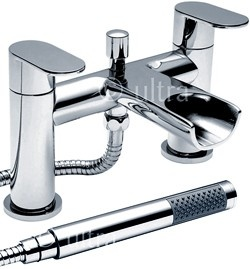 ultra flume  waterfall bath shower mixer tap with shower kit (chrome). - taps4less.com