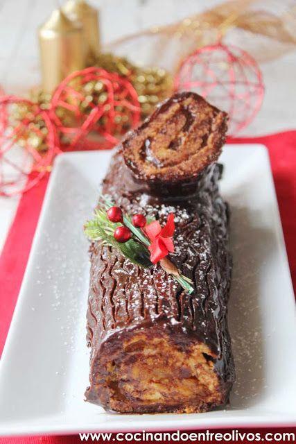 Cocinando entre Olivos: Tronco de Navidad relleno de crema de turrón. Receta paso a paso