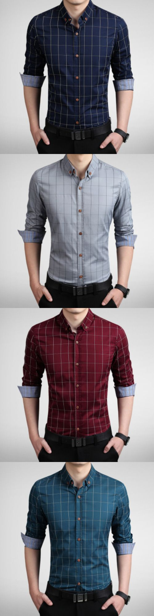 Men's Fashion Plaid Slim Fit Business Long Sleeved Shirt