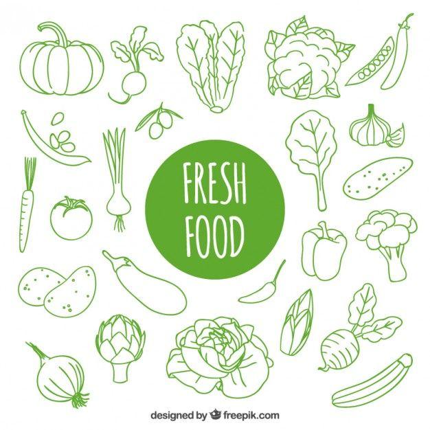 Dibujado a mano alimentos frescos Vector Gratis