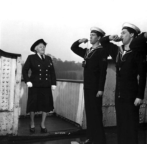1964. Murder Ahoy! An original screenplay loosely incorporating certain elements of Agatha Christie's They do it with Mirrors. Margaret Rutherford as Miss Marple.
